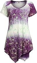 BEPEI Womens High Low Scoop Neck Tie Dye Tunic Shirts Short Sleeve Summer Tops