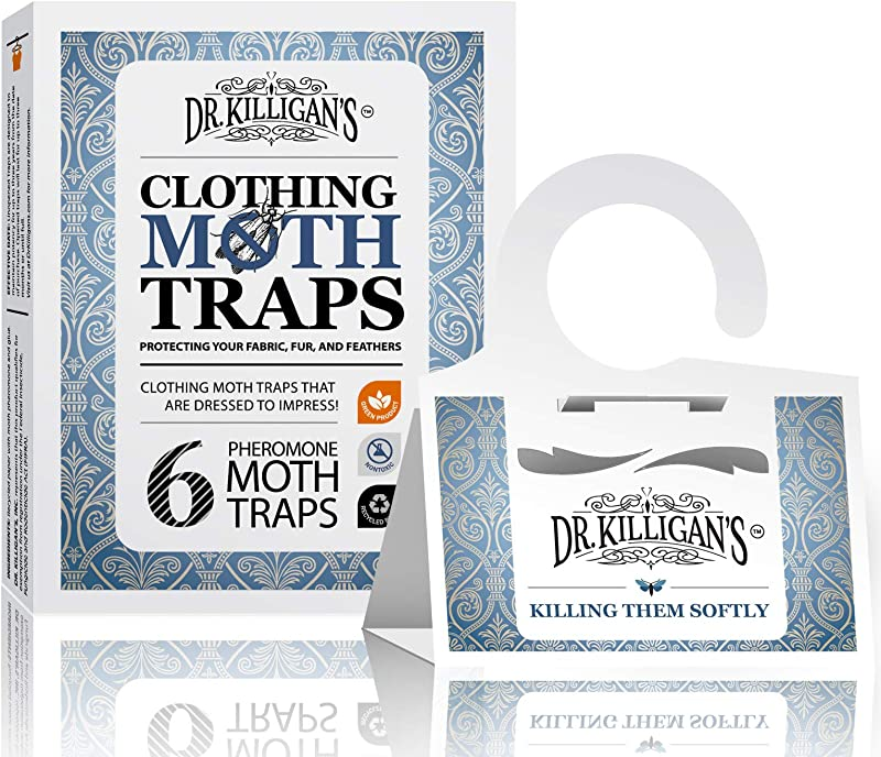 Dr Killigan S Premium Clothing Moth Traps With Pheromones Prime Non Toxic Clothes Moth Trap With Lure For Closets Carpet Moth Killer Treatment Prevention Case Making Web Spinning 6 WHT