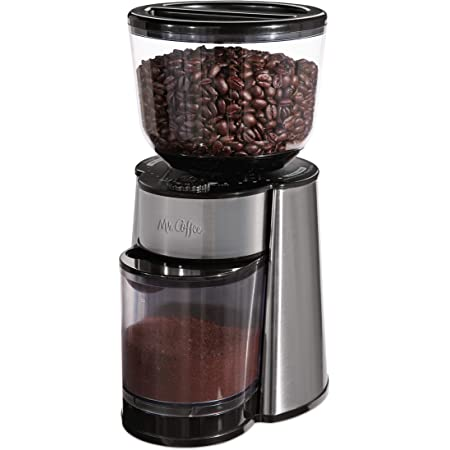 Mr. Coffee Automatic Burr Mill Coffee Grinder with 18 Custom Grinders, Silver