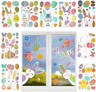 B/üro Happy Easter Party Decor Supplies f/ür Zuhause Fensterdekoration Ostern,9 Bogen 60 St/ück Fenstersticker Ostern,Fensterbilder H/äscheneier Fr/ühlings Ostern