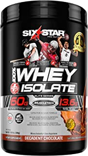 Six Star Whey Isolate Plus Protein Powder, 100% Whey Protein Isolate, Decadent Chocolate, 1.5 Pounds