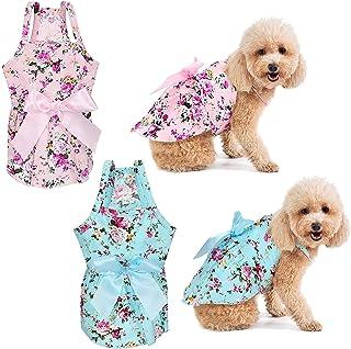 DELFINO 2 Pieces Dog Dress Girl Bowknot Floral Dress Cute Rosette Dog Sundress Dog Princess Dresses for Small Pet Puppy Do...