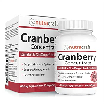 3X Cranberry Extract Supplement for Bladder & Urinary Tract Infection UTI Support - 12,600 mg of Fresh Cranberries, Vitamin C & E and Polyphenols per Capsule - 60 Softgel Capsules