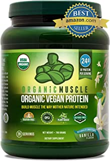 USDA Organic Vegan Protein Powder - Great Tasting Vanilla Flavor W/ 24g of Protein -100% Organic Plant Based Protein Blend...