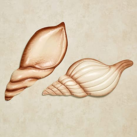 Amazon Com Seashell Metal Wall Art Sea Shells Brown Ivory Beach Coastal Home Decor Set Of 2 Home Kitchen