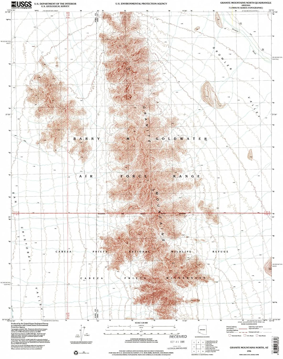 Granite Mountains North AZ topo map, 1 24000 Scale, 7.5 X 7.5 Minute, Historical, 1996, Updated 2000, 26.8 x 22 in