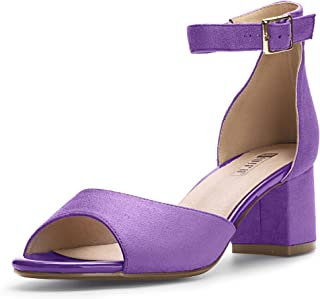 Women's IN2 Candie Low Chunky Block Heel Pump Heeled Sandals Buckle Ankle Strap Peep Toe Dress Shoes