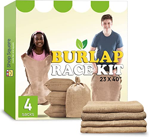 """wholesale Large Burlap Potato Sack Race Bags, 23x40"""" Burlap Bags, Outdoor Lawn Games for Kids & Adults -Fun for 4th of July BBQ, Picnic, Block Party, Family discount Reunion, Birthday Party, Halloween, Easter new arrival - Set of 4 sale"""
