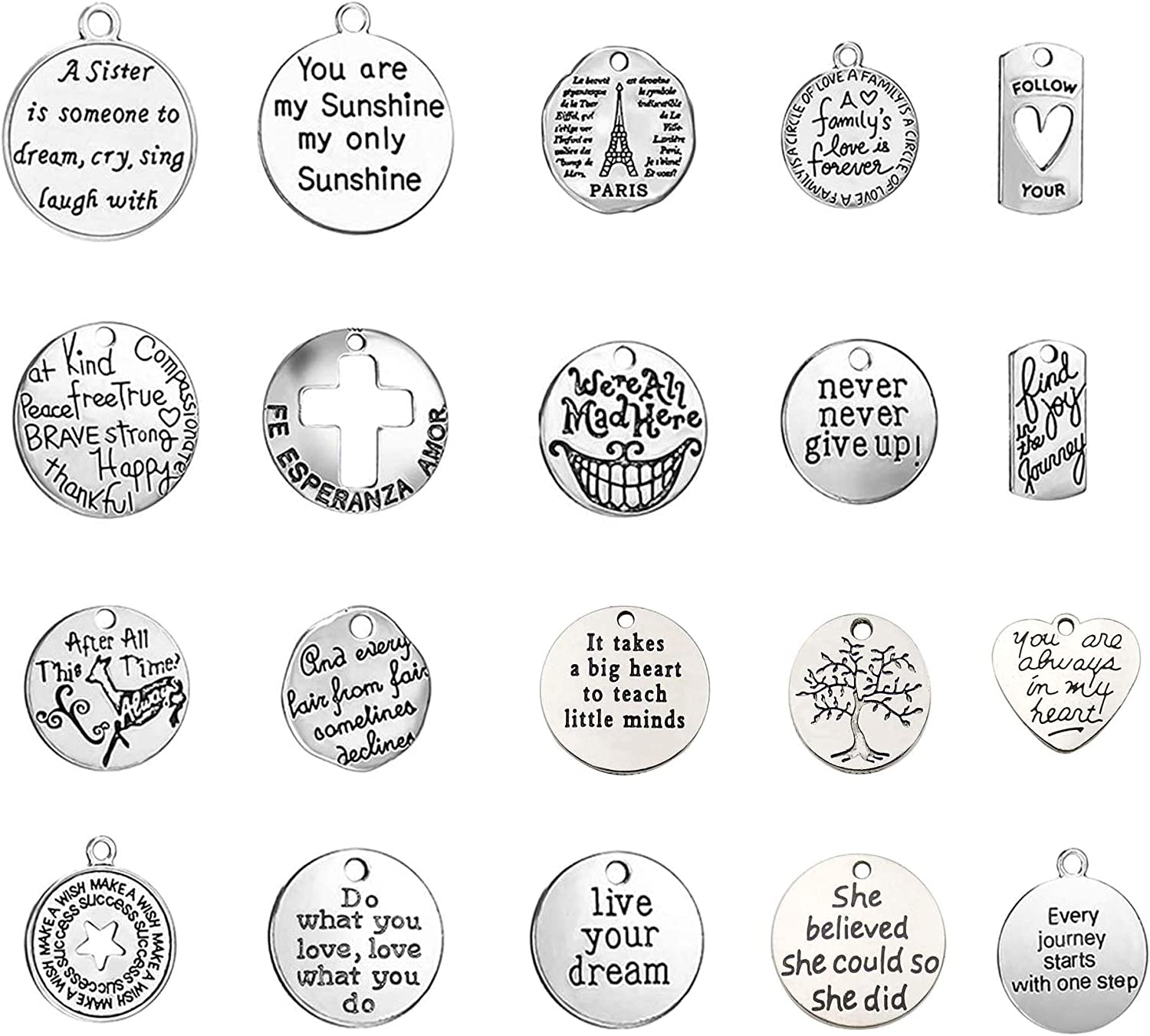 TSJ 20 PCS Inspirational Word San Diego Mall Engraved Pendants Cha Recommended Words Charms