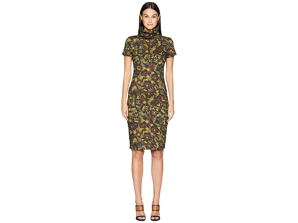 Nicole Miller Flower High Neck Dress (Camouflauge) Women