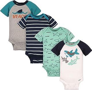 Gerber Baby Boys' 4-Pack Short Sleeve Onesies Bodysuits, Green Shark, 3-6 Months