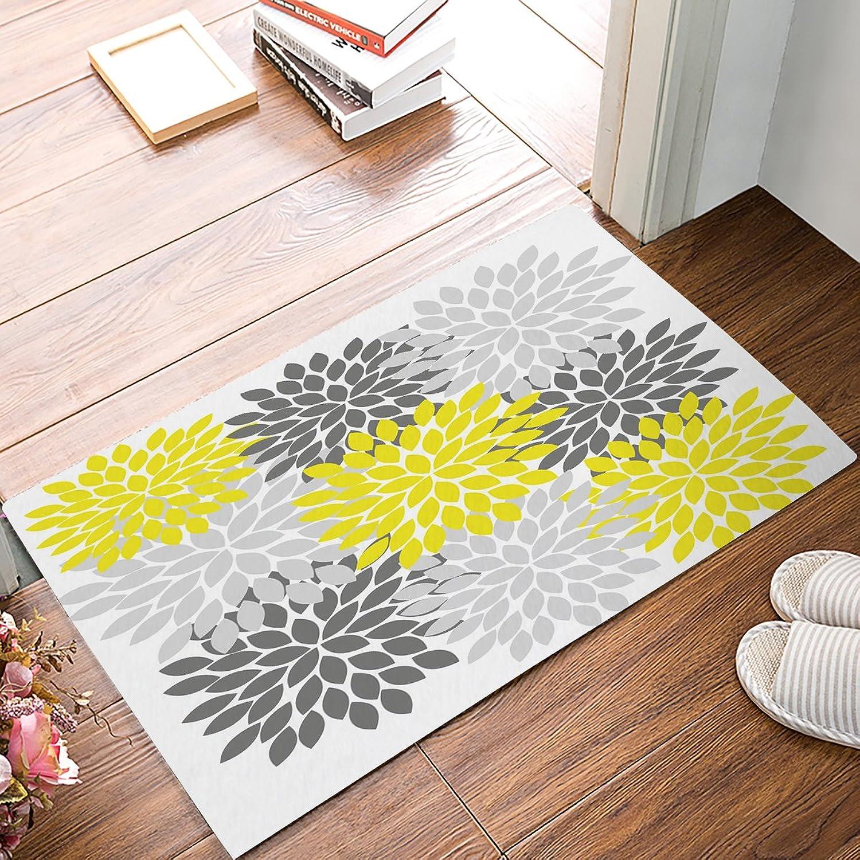 Family Decor Doormat for Entrance Way Indoor Bathroom Front Door Area Floor Mat Rugs Rubber Non Slip Waterproof Absorb Kitchen Runner Carpet, Dahlia Geometric Floral Yellow Grey (30 x18 )
