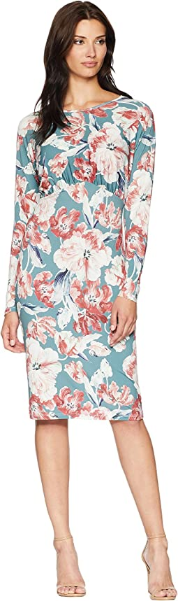 Printed Floral Blouson Midi Dress