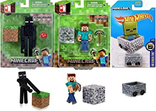 Hot Wheels Steve Player Minecart Compatible with Minecraft Car Bundled with Figure Enderman + Overworld Block with Pick Ax...