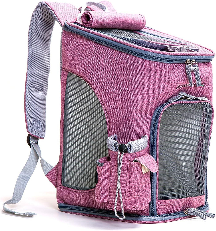 CAR SHIN Pet Carrier Backpack Dog Travel Bag Top aprendo Mesh SoftSided Strap Dog Cat Carrier Folding Outdoor Traveling Pet Bag, Pink