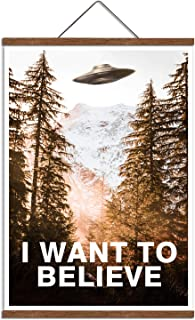 I Want to Believe Print Poster Waterproof Painting Canvas with Scroll Frame Wall Art 16x22 inch
