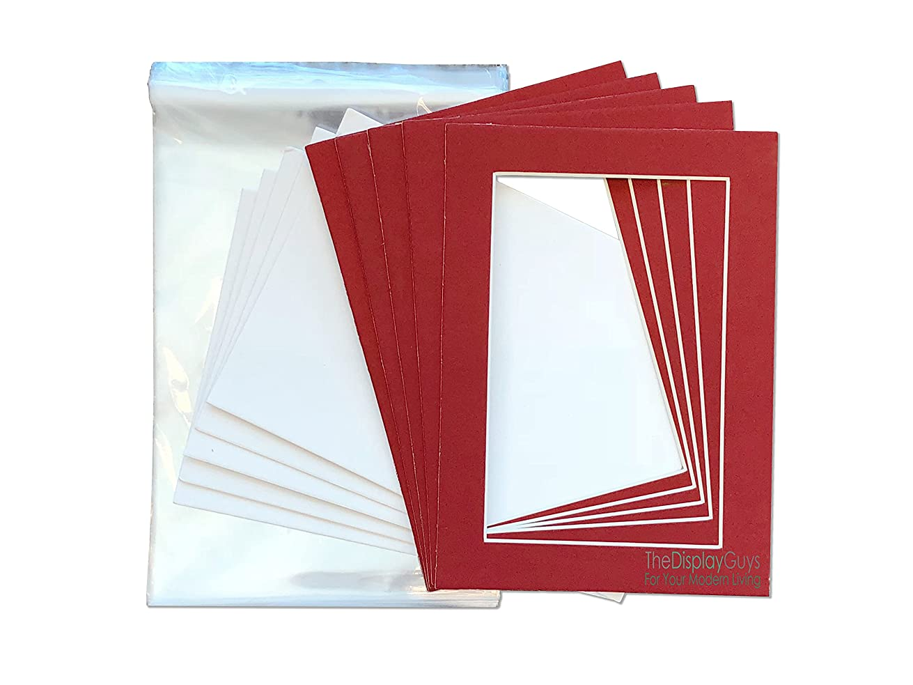 The Display Guys Pack of 25 Red Picture Photo Matting Mat Boards (White Core Bevel Cut) + Backing Boards + Clear Plastic Bags (25pcs Complete Set) (5