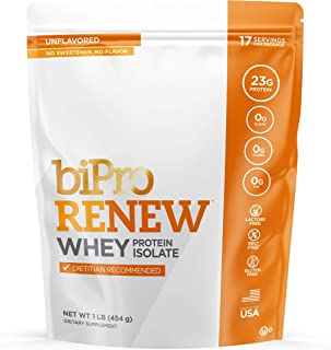 BiPro RENEW 100% Whey Isolate Protein Powder, Dietician Recommended Dietary Supplement, Gluten Free, Unflavored, 1 Pound