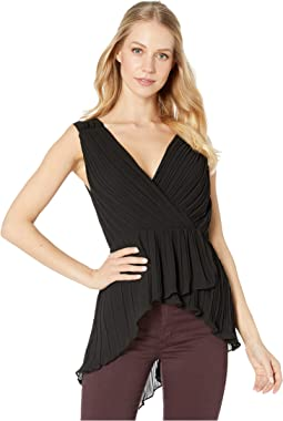Pleated V-Neck Top with Asymmetrical Hem