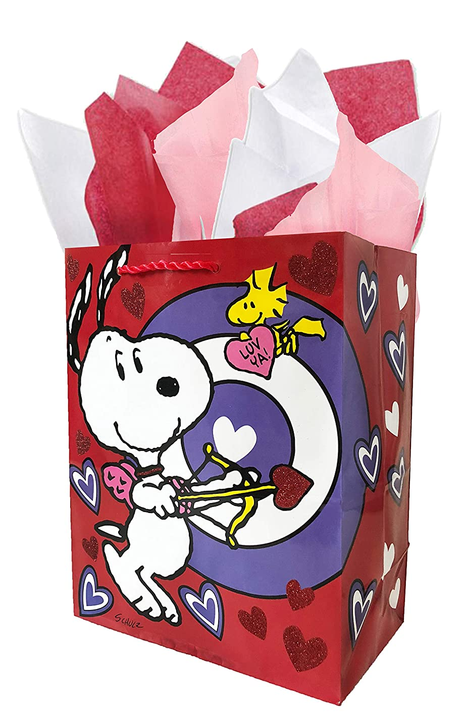 Red Glitter Heart Valentine Peanuts Gang Gift Bag & Tissue Paper Set - Cupid Snoopy & Woodstock - Small/Medium
