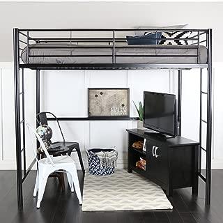 WE Furniture Full Size Metal Loft Bed, Black