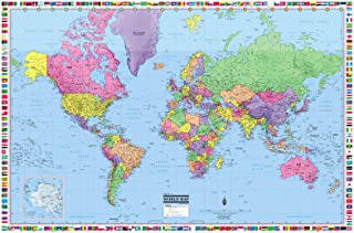CoolOwlMaps World Wall Map Political with Flags Poster 36x24 Rolled Laminated - 2019