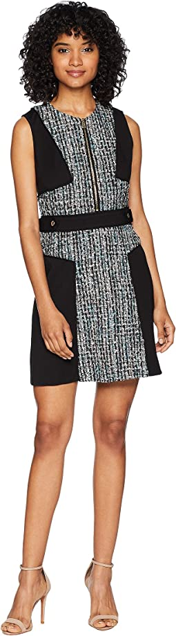 High-Waisted Multi Tweed w/ Ponte Mix Dress