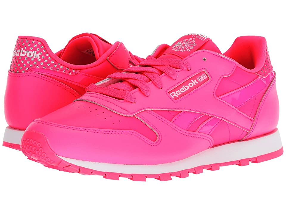 Reebok Kids Classic Leather (Big Kid) (Acid Pink/White) Girls Shoes