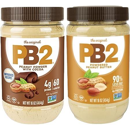 Bell Plantation Powdered PB2 Bundle: 1 Peanut Butter and 1 Chocolate Peanut Butter, 1 lb Jar (2-pack)