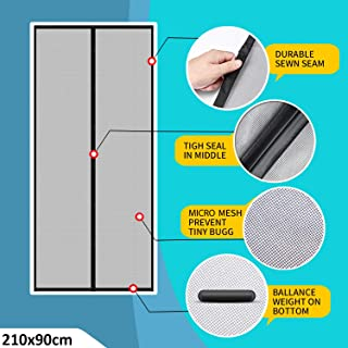 Lifekrafts Polyester Mosquito Screen Curtain for Main Doors Mesh with Magnets (Black, 210 x 90 Cms)