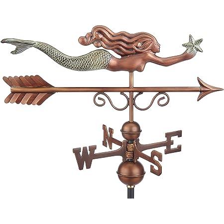 MIDWEST-CBK Resin and Metal Mermaid Decorative Weathervane White