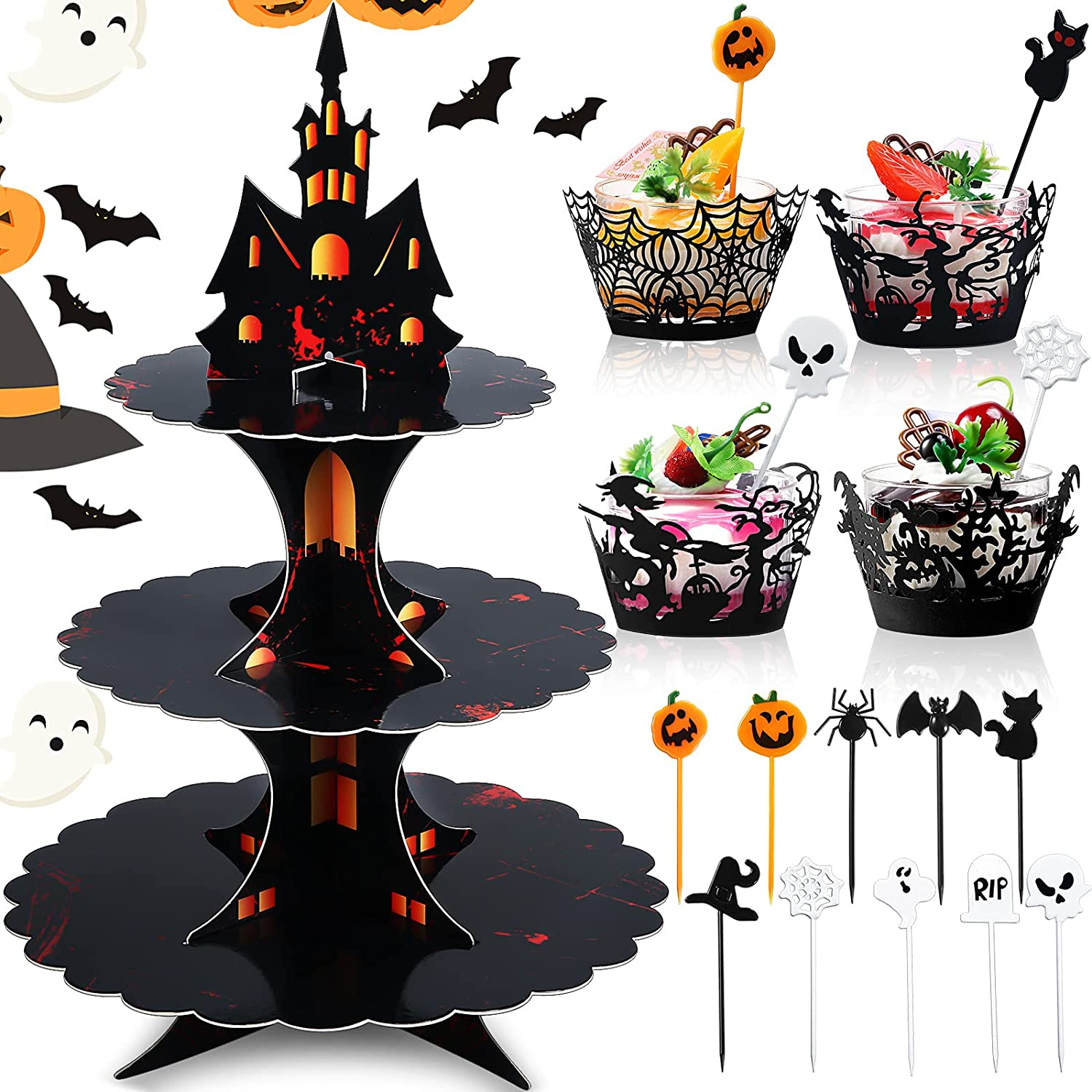 89 Latest item Pieces Halloween Cupcake Stand a Round C Fresno Mall Set 3-Tier