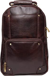 Earner Enterprises Backpack Bag 15.6 Laptop Expandable Features Made in Pure Leather for Men & Women (Brown)