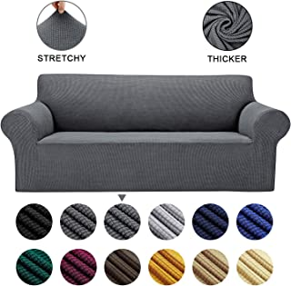 AlGaiety Stretch Sofa Cover Slipcover, Furniture Protector Spandex 1-Piece Couch Coat with Elastic Bottom for Dogs, Cats, Kids Small Checked Pattern Fabric (Sofa, Gray)