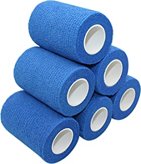 COMOmed Self Adherent Cohesive Bandage Latex FDA Approved 3x5 Yards First Aid Bandages Stretch Sport Athletic Wrap Vet Tape for Wrist Ankle Sprain and Swelling Blue(6 Rolls)