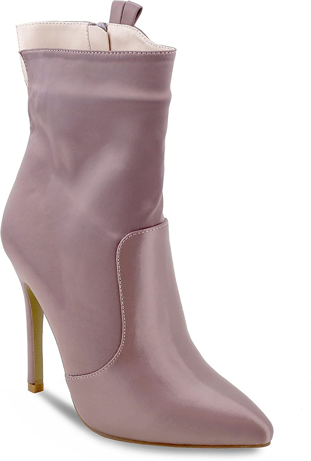Olivia Miller 'Seaford' Satin Pointy Toe High Heel Ankle Booties