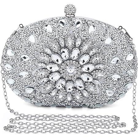 UBORSE Clutch Silber Desigual Tasche Kleine Glitzer Diamant Handtasche Silber Umhängetasche Ketten Schultertasche Damen Abendtasche für Hochzeit Party Disko