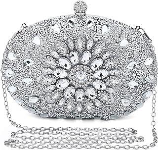 UBORSE Clutch Silber Desigual Tasche Kleine Glitzer Diamant Handtasche Silber Umhängetasche Ketten Schultertasche Damen Ab...