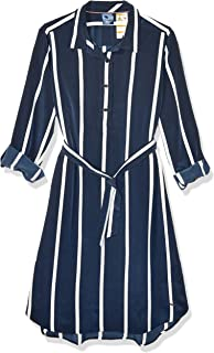 Women's Adaptive Striped Shirtdress with Magnetic Buttons