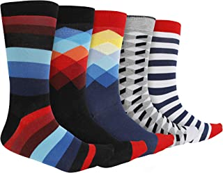 Sockyfy Mens Socks - Colorful and Fun Patterned Premium Dress Socks in Gift Box, Free Size Set of 5