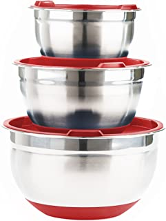 Durable Stainless Steel Mixing Bowls with Lids and Non Slip Bottom (Set of 3) by Fitzroy and Fox, Red or Blue