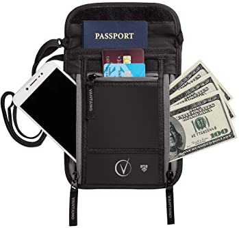 Neck Wallet Travel Pouch and Passport Holder, RFID Protected, Fits Passport with cover, Includes Global Recovery Tags...