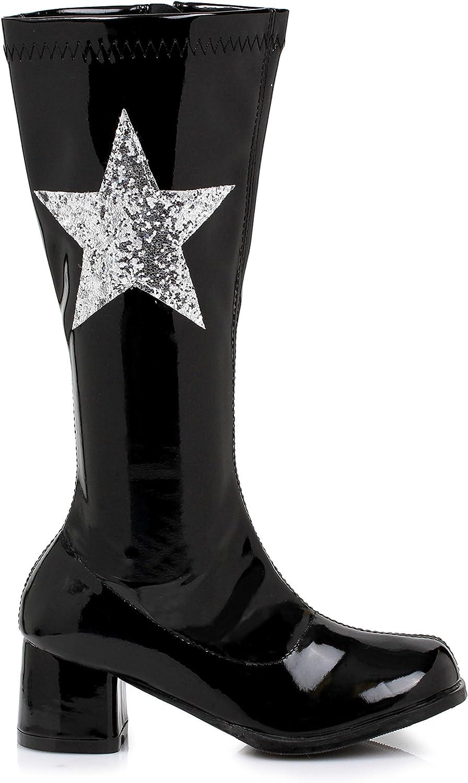 Ellie Shoes Kids Superhero Girls Glitter Star Red Patent Go Go Boots