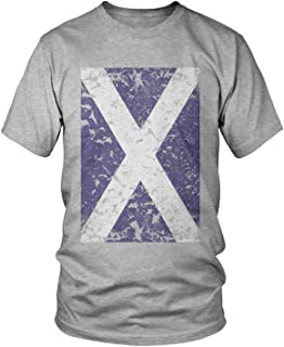 Amdesco Men`s Oversized Faded Scotland Flag, Scottish Flag T-Shirt, Heather Gray XL