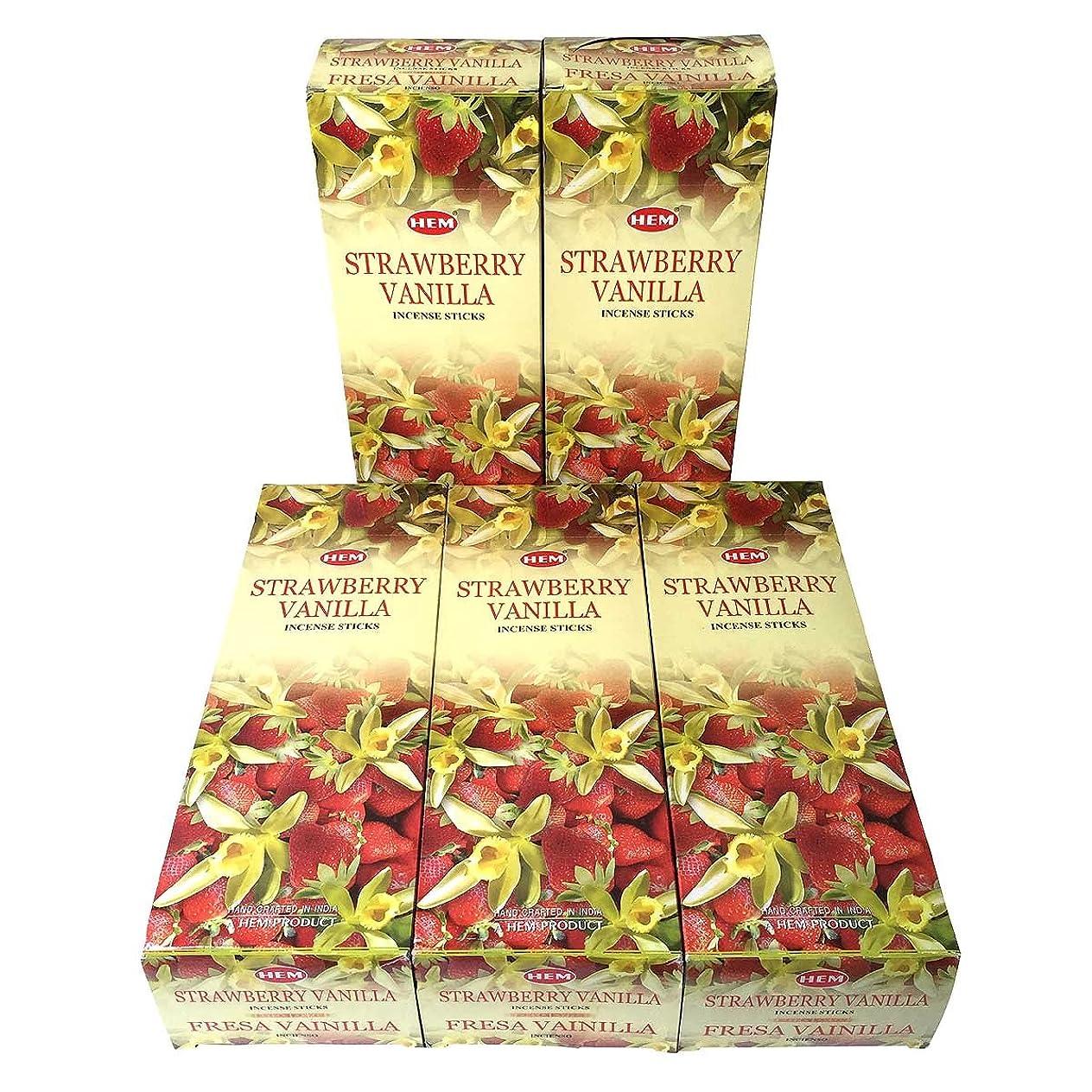終わり硫黄軽食HEM ストロベリーバニラ香 スティック 5BOX(30箱)/HEM STRAWBERRY VANILLA/ インド香 / 送料無料 [並行輸入品]