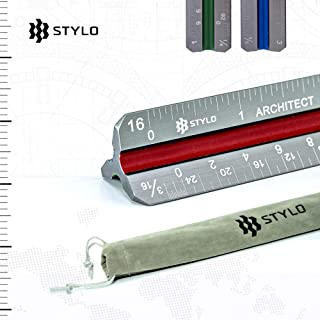 Architectural Scale Ruler - 12 Inch Laser Etched Triangle Aluminium Architects Ruler with Color-Coded Grooves - Architect Scale for Blueprint, Drafting and Drawing with Chamfered Edges (Imperial)