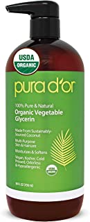 PURA D'OR Organic Vegetable Glycerin (24oz) Derived from Coconut, 100% Pure Premium Grade, Clear & Odorless, Non-GMO, USP ...