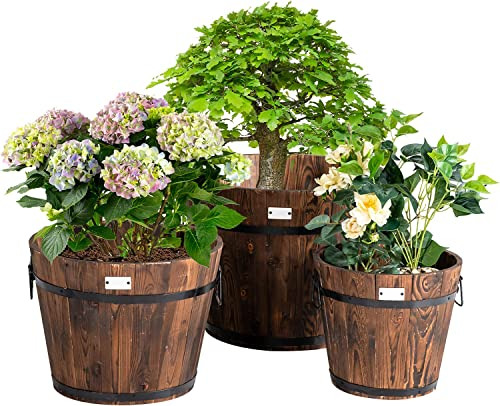 wholesale Giantex 3 Pieces Barrel Planter, Wood Bucket Raised Beds wholesale for Plants Herbs Veggies, Indoor lowest Outdoor Decorative Planter Box with Drainage Holes 3 Sizes sale