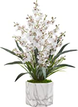 Nearly Natural Dancing Lady Orchid Artificial Marble Finished Vase Silk Arrangements, White