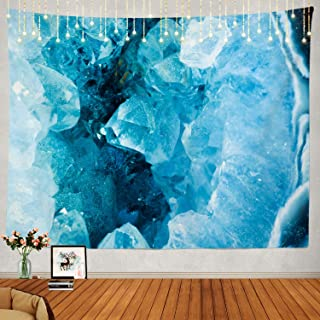 Shrahala Beautiful Tapestry, Blue Geode Rock Mineral Agate Crystal Image Decorative Wall Hanging Large Tapestry Psychedelic Tapestry Decorations Bedroom Living Room Dorm(51.2 x 59.1 Inches, Blue 1)